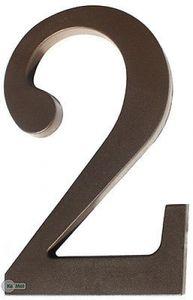 """Hausnummer  """"2"""" aus Kunststoff Dunkel Braun Höhe 175mm"""