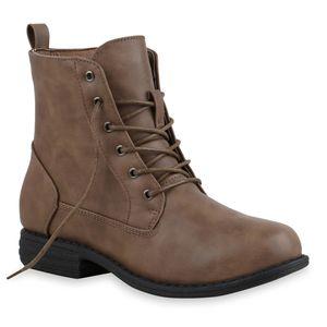 Mytrendshoe Damen Schnürstiefeletten Leicht Gefütterte Stiefeletten Schuhe 835644, Farbe: Tan PU, Größe: 39