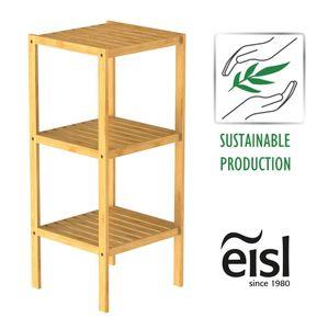 EISL Badezimmer Regal Bambus, Badregal schmal mit 3 Ablagefächern, nachhaltiges Badmöbel Bambus
