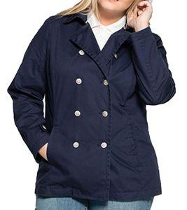 sheego Caban-Jacke klassische Damen Übergangs-Jacke im Marine Look Blau, Größe:46