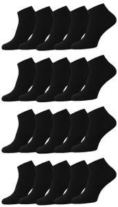 24 Paar Unisex Socken Sneaker Füsslinge Schwarz Baumwolle Gr. 43-46