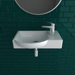 Alpenberger Handwaschbecken 45 x 32 cm   Waschbecken zur Wandmontage   Waschtisch für kleine Bäder und Gäste-WCs   Großzügiger Waschbereich