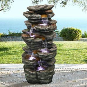 Gartenbrunnen Springbrunnen Außen brunnen Zier Brunnen Kaskaden Innen mit LED-Licht