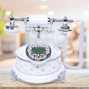 Festnetztelefone Telefon Retro Schnurgebundene Antikes Telefon Dekoration für Café Bar, Mit Edelsteinen verziert
