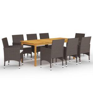 Gartenmöbel Essgruppe 8 Personen ,9-TLG. Terrassenmöbel Balkonset Sitzgruppe: Tisch mit 8 Stühle Braun❀7462
