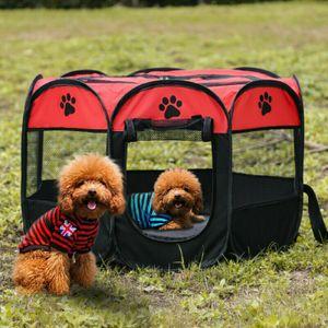 Welpenlaufstall Haustier Zelt Welpenauslauf Tierlaufstall Hundehütte Kennel Spielzaun Welpen Zaun Tragbar Rot