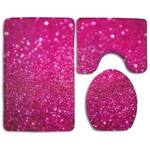 ABPHQTO Pink Glitter 3 teilige Badteppiche Set Badteppich Konturmatte und Toilettendeckel Abdeckung