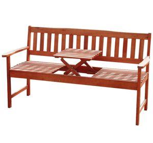 KMH® 3-sitzerEukalyptus Gartenbank mit integr. Tisch