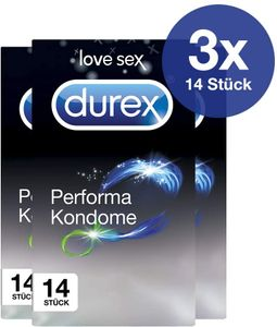 Durex Performa aktverlängernde Kondome mit benzocainhaltigem Gel 3 x 14 Stück