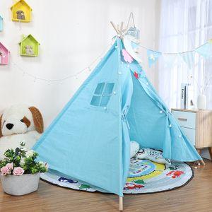 1,1 m Tipi Spielzelt Kinderzelt Indianerzelt für Kinderzimmer Indianer Zelt Spielhaus Blau