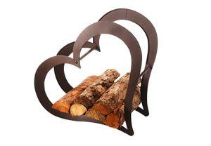 Kaminholzregal -LOVE- aus Metall ca 52x23x51 cm - rusty brown brushed