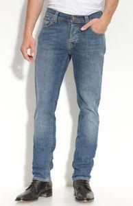 Nudie Slim Fit Jeans - Grim Tim Recycle Denim Slubs, Größe:W33, Schrittlänge:L34