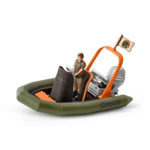 Schleich - Tierfiguren, Schlauchboot mit Ranger; 42352