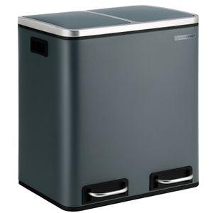 SONGMICS Mülleimer 30 L mit 2 Fächern | 2 x 15 Liter | Treteimer aus Metall | Abfalleimer mit Softclose Inneneimern und Griffen | luftdicht rauchgrau LTB30GS