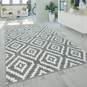 Ethno Teppich Grau Weiß Wohnzimmer Weich Rauten Muster Strapazierfähig Kurzflor, Grösse:160x220 cm