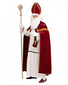 5-tlg. Weihnachtsmann Kostüm mit Bischofsmütze - Nikolaus Kostüm Größe: L/XL