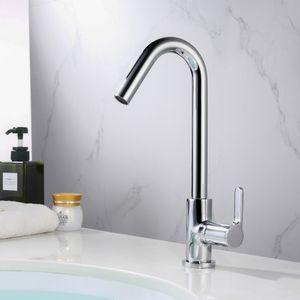 Kaltwasser Hahn Wasserhahn Bad 360° drehbar Chrom Armatur Spültischarmatur Badarmatur hoch mit einen Schlauch Standhahn