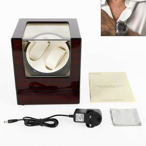 Holz Uhrenbeweger Uhrenbox für 2 Uhren Automatisch Uhrendreher Kasten EU Adapter Watchwinder braun Kubus