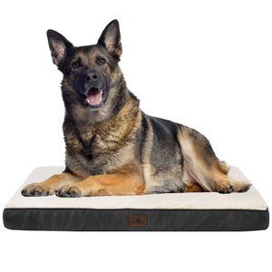 Juskys Hundebett Milow orthopädisch - 112x81 cm - Hundekissen flauschig & formstabil - Bezug abnehmbar & waschbar – Hundesofa für große Hunde - Grau