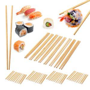 relaxdays 50 Paar Bambus Essstäbchen Reis Stäbchen Chopsticks 24 cm Sushi Stäbchen natur
