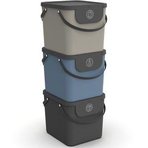 Set Recycling Müllsystem 3 tlg. ALBULA 40l, Farbe:Anthrazit / Blau / Cappuccino