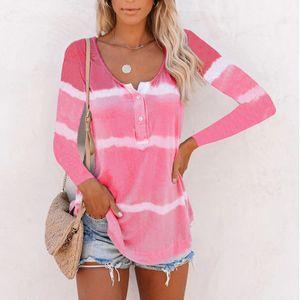 Frauen Gradient Striped Langarm T-Shirt Pullover Casual Shirt Top,Farbe: Pink,Größe:L