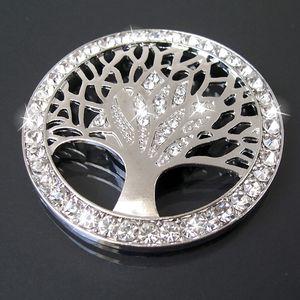 Brosche Broschen Magnet Magnetbrosche Strass Lebensbaum 4,5cm Silber B735