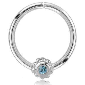 viva-adorno Knorpel Piercing Ring Kristall Ohrpiercing Helix Cartilage Tragus Nasenring 316L Chirurgenstahl verschiedene Farben Z489,Ring 1x silber / aqua
