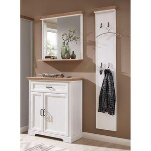 Garderoben Landhausmöbel Set in Pinie weiß mit Artisan Eiche JÜLICH-36, BxHxT ca.: 150 x 204 x 41 cm