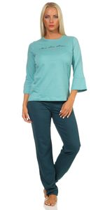 Langer Damen Schlafanzug , Farbe:grün mit Druck, Größe :XL - 48/50