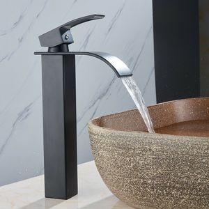 Waschtischarmatur Schwarz Bad Waschbecken Hoch Wasserhahn Wasserfall Küche Armatur Einhandmischer Wasserhahn Badarmatur