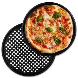 Alpina Pizzablech rund 30 cm Pizzabackblech Set 2 Stück Pizza Flammkuchen Backblech Flammkuchenblech Rundblech