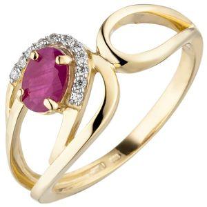 JOBO Damen Ring 54mm 333 Gold Gelbgold 1 Rubin 11 Zirkonia