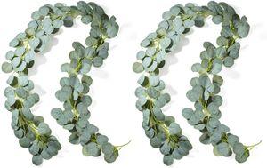 2 Stück Künstliche Eukalyptus Girlande Künstlich Pflanze Eukalyptus Blätter Deko Girlande Hochzeit Eukalyptus Kranz für zu Hause Küchen Garten Büro Hochzeit oder als Wanddekoration