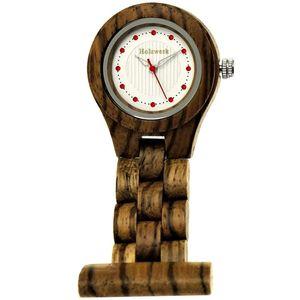 Holzwerk Damen & Herren Schwesternuhr Designer Holz Schwestern Uhr Braun Weiß Rot