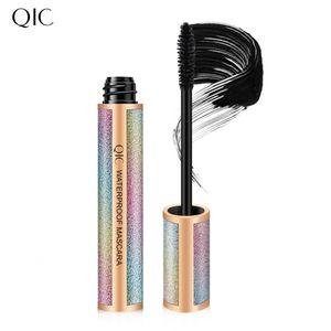QIC Star 4D Wimpernwimperntusche aus Seidenfaser Langlebiges Verlaengerungs-Make-up Schwarz Natuerliche wasserdichte Wimpern