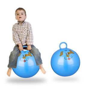 relaxdays 2x Hüpfball Hund Sprungball blau Kinder Jumpingball Gummiball Skippy Ball