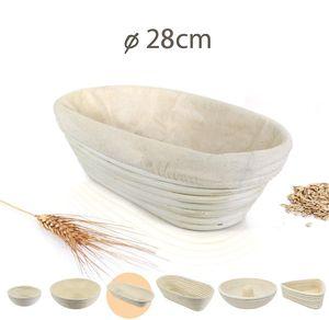 Gärkörbchen Oval 28cm mit Leineneinsatz, Der ideale Gärkorb für Brot und Brotteig aus Peddigrohr, bis 500g Teig, Brotkörbe, rostfrei geklammert
