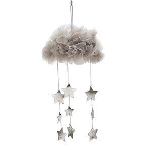 Hängende Mesh Wolke Sterne Anhänger Dekoration für Baldachin Betthimmel Bettvorhang Kinder Baby Spielzelt Kinderzimmer Farbe Gray02