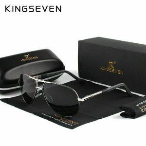 KINGSEVEN Aluminium Herren Sonnenbrille Polarisiert Fahren Uv400 Schutz Pilotenbrille-Schwarz Silber Grau