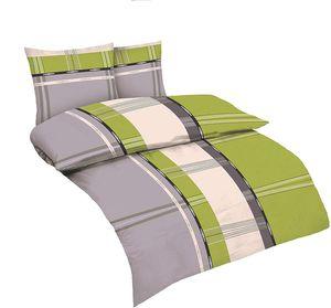 3-teilig Mikrofaser Bettwäsche Set Bettgarnitur Bettbezug Übergröße 200x220 2x Kissenbezug 80x80 Modern Karo Gestreift NEU Grau Apfel Grün