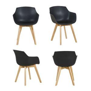 IPOTIUS 4er Set Sessel Skandinavisch Wohnzimmerstuhl Modern Esszimmerstühle mit solide Buchenholz Bein, Retro Design Stuhl für Büro Lounge Küche, Schwarz