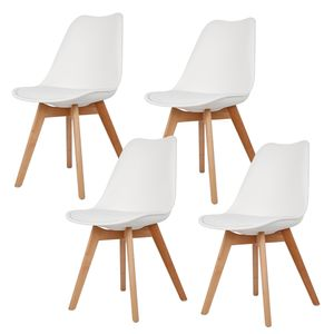4er Set Esszimmerstuhl Kunstleder Polstersessel Loungesessel Stuhl Küche Esszimmer weiß