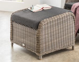 Destiny Lounge Hocker Casa Vintage Grau Palma Fußhocker Polyrattan Beinauflage