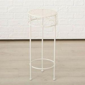 Hoher Beistelltisch weiß Metall Telefontisch Pflanzentisch Blumenständer Tisch(Mittlerer Tisch: 25 x 60 cm)
