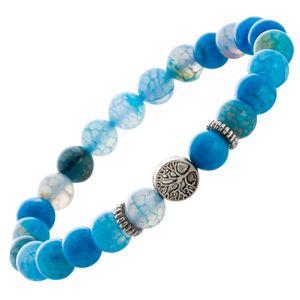 Blaues Achat Shamballa Armband mit farbigem Perlmutt Lebensbaum Esoterik Heilstein Edelstein dehnba