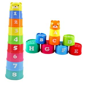 9-teilig Kunststoff Regenbogen Stapelbecher / Stapelturm, Kinder Baby Pädagogisches Spielzeug