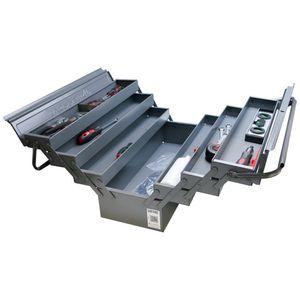 HEMMDAL Werkzeugkasten leer, anthrazit – 52,5 x 20 x 25 cm – Premium Werkzeugkiste mit 6 aufklappbaren Fächern – Werkzeugkoffer ohne Werkzeug – abschließbar & stabil –  EU