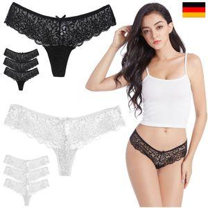 6x  Damen Tanga G String Spitze Pantie Höschen Slip Unterwäsche Schwarz Weiß  S M L XL