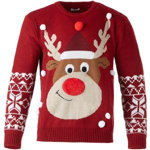 dressforfun Weihnachtspullover Rudi Rentier für Kinder - 116 (5-6 Jahre)